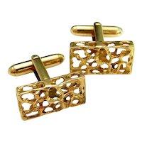 Mid Century Modernist Mens Cuff Links Yellow Gold Cufflinks Vintage 1950s 1960s 1970s Jewelry Accessories Groom Gift Luxury
