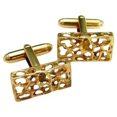 Mid Century Modernist Mens Cuff Links Yellow Gold Cufflinks Vintage 1950s 1960s 1970s Jewelry Accessories Groom Gift Luxury