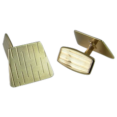 Unique Miminalist Gold Mens Cuff Links Modernist Mid Century Handmade One of a Kind Vintage
