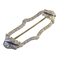 Fine Art Deco Hand made Platinum Diamond Sapphire Brooch Pin Edwardian Belle Epoque Circa 1900 Blue White 1920s 1930s Antique Old Cut Diamonds Dainty Delicate Bridal Wedding Anniversary One of a Kind Jewelry