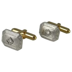1920s 30s Gold Cuff Links Art Deco Cufflinks Engraved Cufflinks Antique Cufflinks Groom Cufflinks Wedding Cufflinks Art Deco Diamond