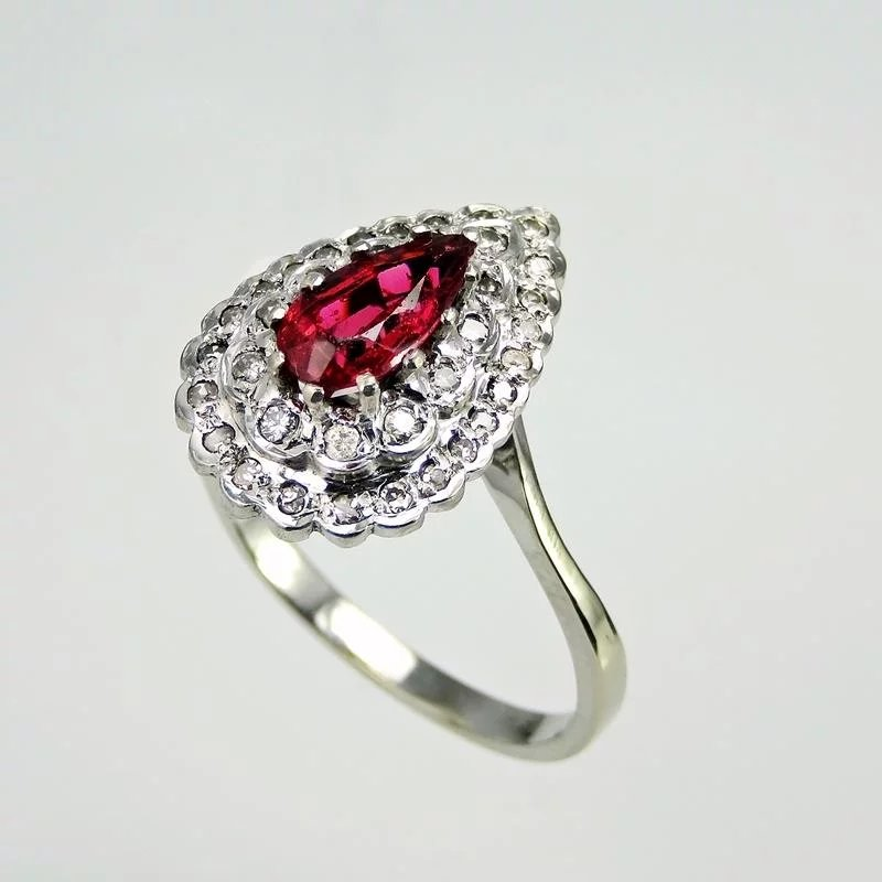 Natural Red Spinel Art Deco Engagement Ring Art Deco