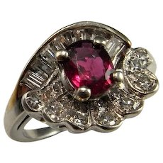 UNHEATED NO HEAT Natural Red Ruby Engagement Ring Art Deco Ruby Ring Antique Ruby Ring Ruby Diamond Engagement Ring Platinum One of a Kind