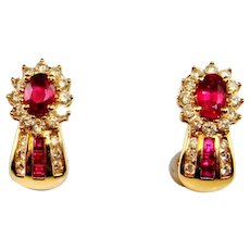 VIVID RED RUBY Diamond Earrings 14K Yellow Gold Ruby Diamond Huggie Earrings Estate Ruby Earrings Vintage Ruby Earrings Heirloom Ruby 585