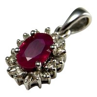 NATURAL RED RUBY Diamond Pendant 18K White Gold 750 18Kt Oval Cut Ruby Pendant Dainty Ruby Diamond Pendant Delicate Ruby Pendant Anniversary
