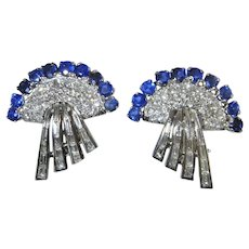 Sapphire Diamond Earrings Fine Diamond Earrings 14K White Gold Late Art Deco VS F Diamond Blue Natural Ceylon Sapphire Fan Sunray Retro 1940s Earrings One of a Kind Luxury High End Wedding Bridal Anniversary Pretty Handmade Downton Abbey Gatsby