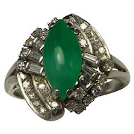 Jadeite Jade Diamond Ring Green Jade Cabochon Ring Art Deco Diamond Ring 18K Gold Diamond Ring 18K White Gold Ring Antique Jade Ring Great Gatsby Downton Abbey 1920s 1930s Green Jade Navette Asymmetrical 1940s Handmade One of a Kind