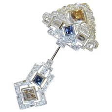 Art Deco Color Diamond Brooch 7.12 tcw Fancy Diamond Jewelry Pin Jabot Clique 1930s 1920s 1940s Brooch Platinum 18K 22k Gold Ceylon Sapphire Pink Champagne Diamond