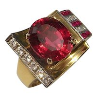 Art Deco Gold Ring Rubellite Diamond Ring Red Tourmaline Diamond Ring Ruby Diamond Ring 14K Gold Tank Ring Art Deco Engagement Color Tank