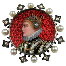 Victorian Enamel Portrait Brooch Diamond Pearl 18K Gold Brooch Enamel Jewelry Rose Cut Diamond Medieval Tudor Georgian Victorian Renaissance Revival Brooch