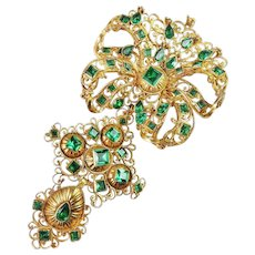 Georgian 18K Solid Yellow Gold Pendant Stomacher Emerald Green Pastes 18th Century Circa 1750 French Empire Pre Victorian Drop Necklace Pendant Heirloom Museum Quality