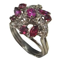 No Heat Ruby Ring 1950s Ruby Diamond Ring Flower Floral Engagement Ring 18K White Gold Handmade One of a Kind Ring Color Engagement Ring