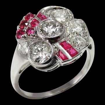 Art Deco Ruby Engagement Ring Art Deco Diamond Engagement Ring Ruby Engagement Ring Art Deco Platinum Ring Floral Engagement Ring 1920s Engagement Ring 1930s 1940s Gatsby Wedding Antique Edwardian Old European Cut OEC Old Mine Handmade One of a Kind