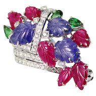 Ruby Tanzanite Tsavorite Diamond Floral Basket Bouquet Brooch