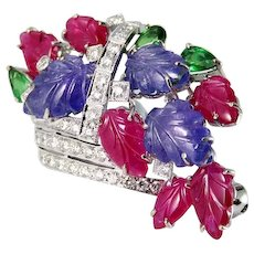 Ruby Tanzanite Tsavorite Diamond Floral Basket Bouquet Brooch 18K GOLD FLORAL Flower Bouquet Giardinetti Wedding Bridal Birthstone Delicate Carved Cameo