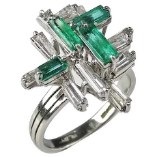 Platinum Colombian Emerald Diamond Baguette Ring Mid Century Modernist Statement Sculptural One of a Kind Green Birthstone Luxury Unique Engagement Wedding Jewelry Rings