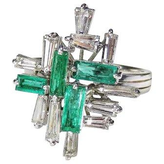 Vivid Green Emerald Diamond Ring Platinum Modernist Mid Century Engagement Ring Color Wedding Ring Colombian Emeralds Baguette Cut Asymmetric Cluster Luxury High End VS F Diamond Handmade 1950s 1960s 1970s Minimalist Statement Cocktail Baguette