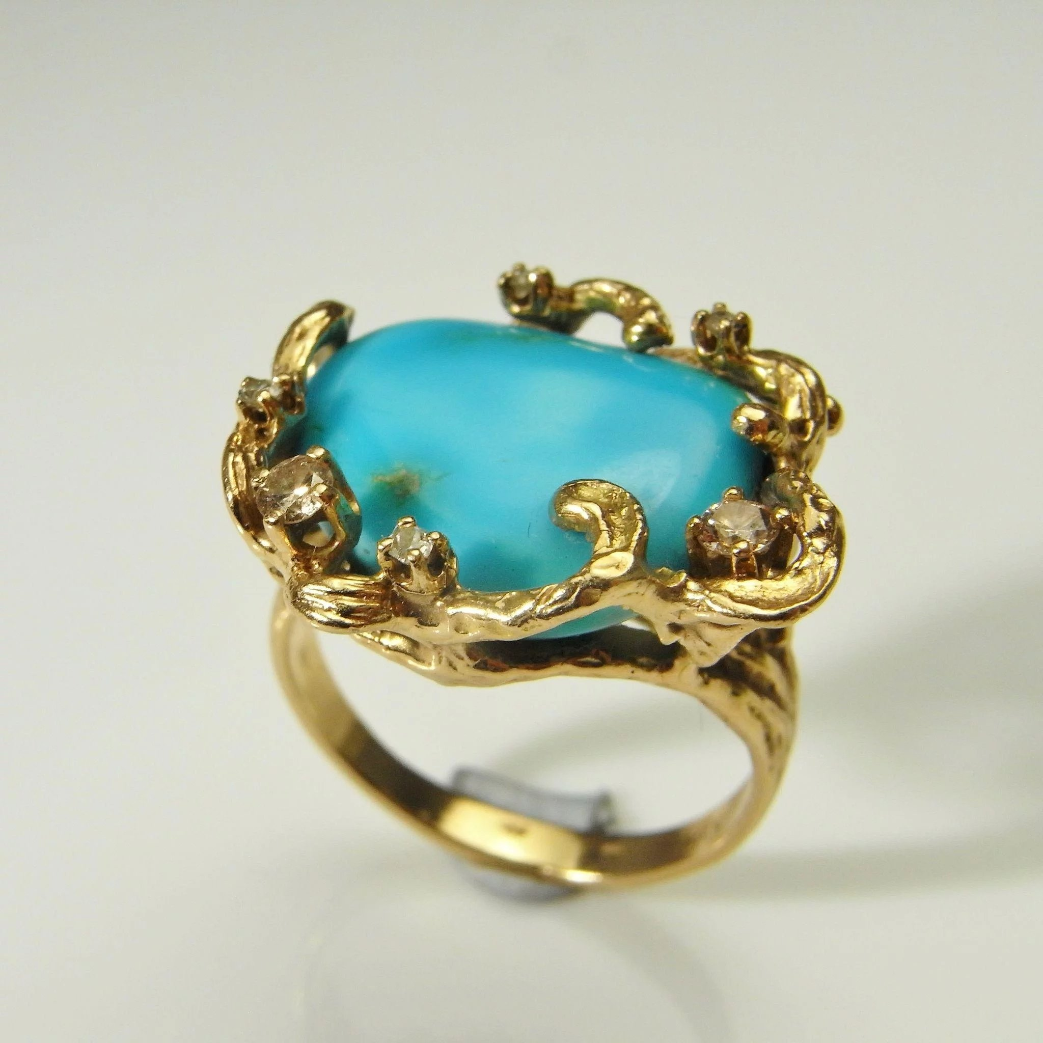 Turquoise Diamond Ring 14k Solid Gold Retro Ring Turquoise Cabochon