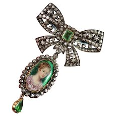 Exquisite Georgian Emerald Diamond Stomacher Brooch Pendant Set Enamel Miniature Portrait Stomacher Day Night Bow Brooch Pendants Set 18K Gold Silver
