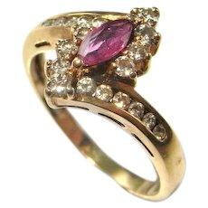 NO HEAT Sunset Pink Sapphire Ring 14K Gold Dainty Sapphire Ring Purple Pink Marquise Sapphire Ring Dainty Engagement Natural Sapphire