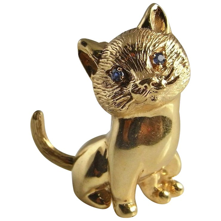 Cheeky Pretty 14K Gold Cat Brooch Cat Jewelry Animal Jewelry Panther