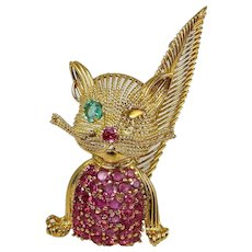 Cat Brooch 1950s Brooch Ruby Brooch Emerald Brooch Ruby Jewelry Natural Emerald Natural Ruby 18K Gold Handmade Brooch Mid Century Brooch