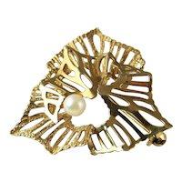 Mid Century Brooch Modernist Jewelry Pearl Brooch Mid Century Modern Minimalist Jewelry Gold Brooch Designer Brooch Brutalist Jewelry Retro