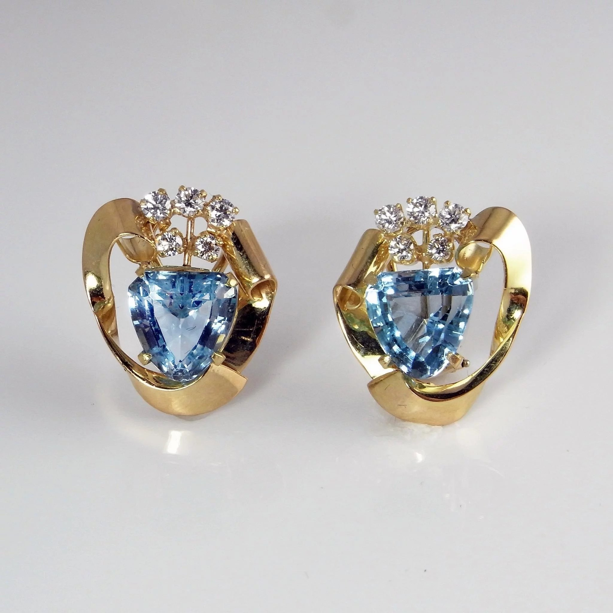 genuine products mm white set round natural gold earrings aquamarine bezel stud