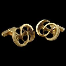 MODERNIST Mid Century Unique Mens Gold Cuff Links 1970s Vintage Cufflinks European German Sculptural
