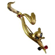 Siamese Cat Jewelry Siamese Cat Art Cat Brooch Cat Pin Sapphire Ruby 14K Gold Pin 1950s Brooch Mid Century Jewelry Modernist Jewelry Retro Panther Leopard Kitten Animal Jewelry Modernist Minimalist
