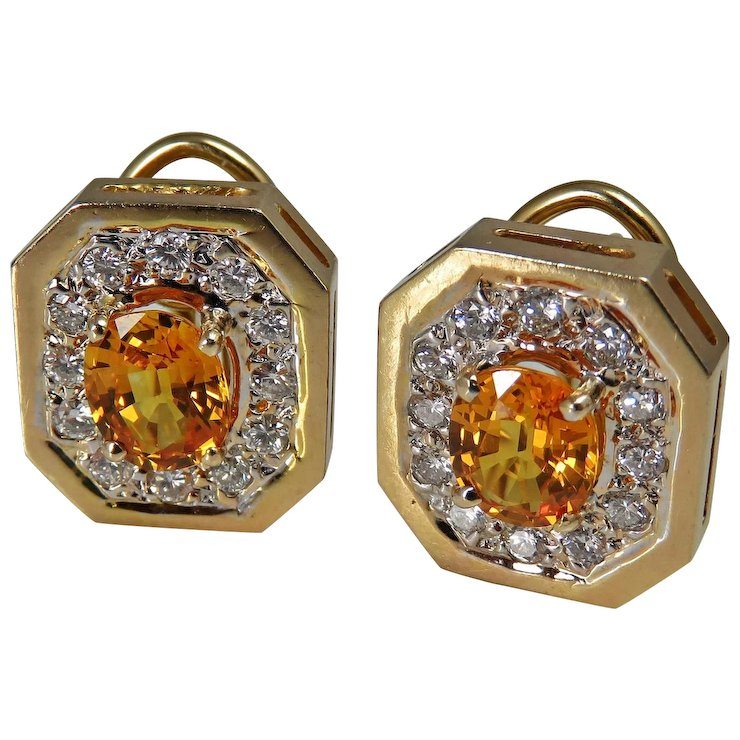 earrings in sapphire mirages yellow copy product with and gold diamonds