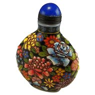QIANLONG Snuff Bottle 1736 to 1795 Antique Glass Enamelled Enamel Bottle Antique Snuff Bottle Chrysanthemum Peony Chinese Antiques 18th C