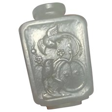 Chinese Antique Jade Snuff Bottle 18th Century Snuff Bottle Nephrite Jade Snuff Bottle Qing Dynasty Snuff Bottle Hand Carved 1700s Birds