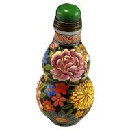 QIANLONG Snuff Bottle 1736 to 1795 Glass Enamelled Enamel Bottle Antique Snuff Bottle Chrysanthemum Peony Chinese Antiques 18th C