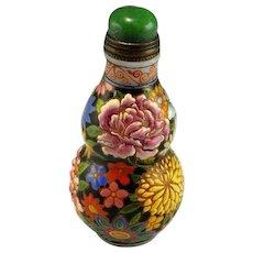QIANLONG Snuff Bottle 1736 to 1795 Glass Enamelled Enamel Bottle Antique Snuff Bottle Chrysanthemum Peony Chinese Antiques 18th C