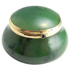 Nephrite Jade Jewelry Box Jewelry Holder Jewelry Display Gemstone Box Gemstone Bowl Sapphire Cabochon Gold Box Trinket Box Antique Hand Made Artisan Edwardian Victorian Art Nouveau
