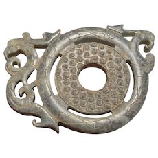 206BC -220AD Han Dynasty Antique Jade Phoenix Amulet Ancient Jade Bi Disc Archaic Bi Ancient China Chinese Jewelry Antiques Artifacts Art