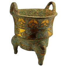 ANCIENT BRONZE Vessel 24k Gold Inlay Inlaid Bronze Ding China Chinese Warring States 300BC 2300 year old! Ritual Container Burial Museum Western Han Dynasty Antiques Museum
