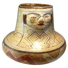 Antique SHAMANISTIC Shaman Effigy Pottery Vessel Shipibo Conibo Peruvian Precolumbian Amazonian Amazon Indian Ceramic Clay Universe Pattern
