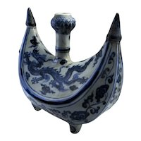 Xuande Blue and White Ming Dynasty Porcelain Pilgrim Flask Crescent Moon Six Character Mark Period 1426 to 1435 15th Century Porcelain