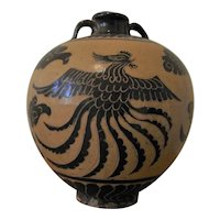 Yuan - Ming Dynasty Phoenix Vessel Vase Cizhou Yao Cizhou Ware Ancient Chinese Artifacts Art 13th Century Art Antiquities Slip Painted