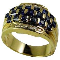 Deep Blue Natural Sapphire Ring Diamond Ring Mens Ring Unisex Ring Dress Ring Engagement Ring Wedding Ring Wedding Band Designer Ring Vintage Mid Century Modernist Minimalist Classic