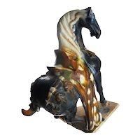 Tang Dynasty Sancai Horse Statue Lead Glazed Ancient Statue Art Chinese Artifacts Ceramics Sculptures Ancient China