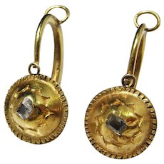 Renaissance Gold Earrings 16th Century circa 1600 Table Cut Diamond 18K Gold Earrings Pre Georgian Earrings Antique Diamond Earrings Antique Old Cut Diamond Early Ancient Jewelry