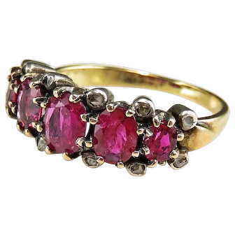 Late Georgian Early Victorian Ruby Ring circa 1830-1840 Rose Diamond Ring Antique Ruby Ring Antique Diamond Ring Antique Engagement Ring Wedding Ring Old Cut Wedding Band Color Engagement Unheated Ruby