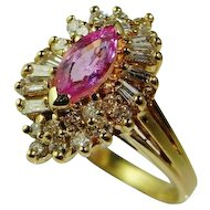 Unheated Pink Sapphire Engagement Ring Color Engagement Ring Ballerina Ring Marquise Engagement Ring Vintage Engagement 14K Gold 1950s Mid Century Retro