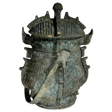 1100 BC SHANG DYNASTY Archaic Ritual Bronze Vessel Bronze You Ancient China Chinese Antiques Tomb Burial Shang Artifacts Pot Ancient World