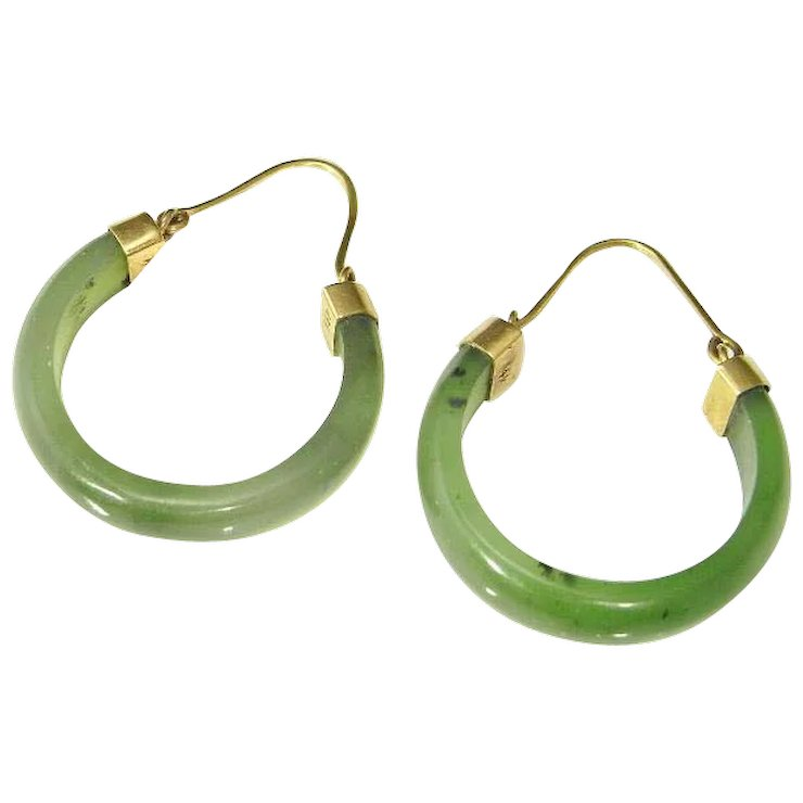 Jade Hoop Earrings Green Nephrite 14k Gold Hoops Minimalist