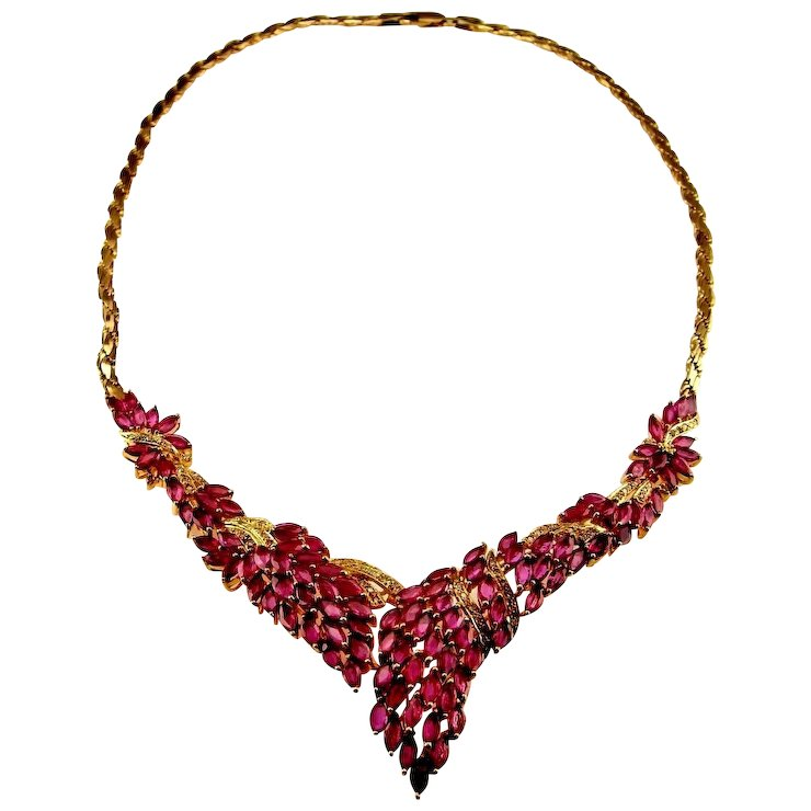 the zircon on inches gemstone with flower completely is gleam design handmade necklaces ruby jewels excellent necklace each a quality creating ovals top p shape piece natural cluster of