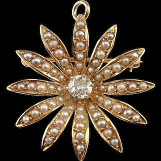 Diamond Pendant Necklace Edwardian Jewelry Seed Pearl Jewelry Antique Diamond Necklace Old European Cut Diamond Wedding Jewelry Bridal 14K Gold Old Cut 1910 Belle Epoque Daisy Floral Flower Snowflake Antique